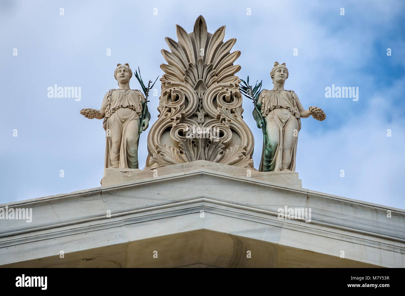 Sculptures, pediment on the roof of Zappeion megaron in Athens,Grrece - Stock Image