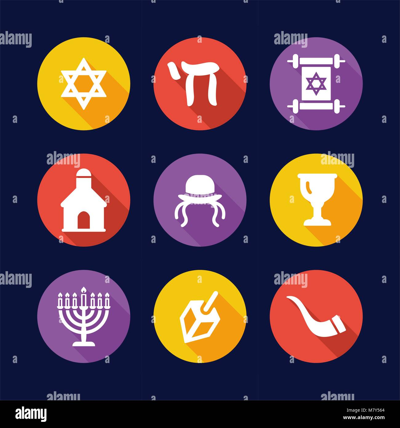 Judaism Icons Flat Design Circle - Stock Vector