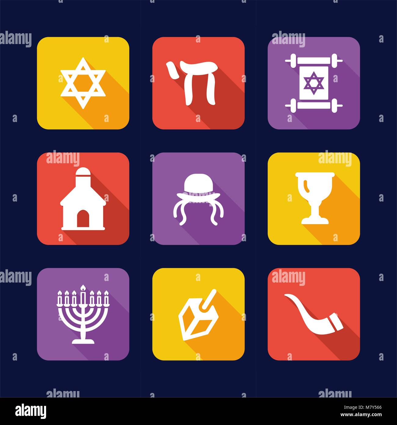 Judaism Icons Flat Design - Stock Vector