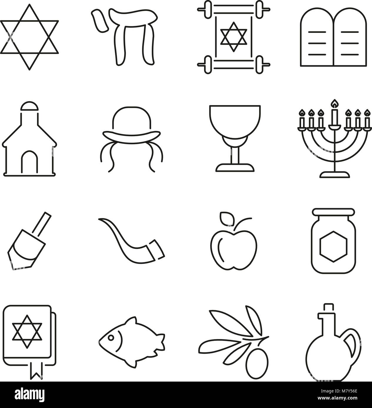 Judaism Religion & Religious Items Icons Thin Line Vector Illustration Set - Stock Image
