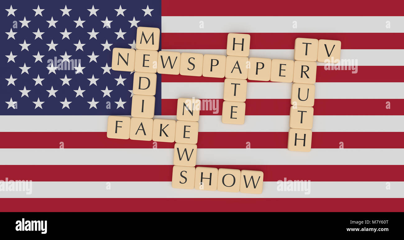 USA Politics News: Letter Tiles Fake News Words Concept On US Flag ...