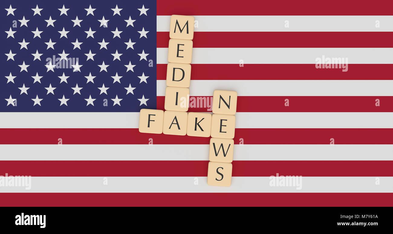 USA Politics News Concept: Letter Tiles Fake News Media On US Flag, 3d illustration Stock Photo