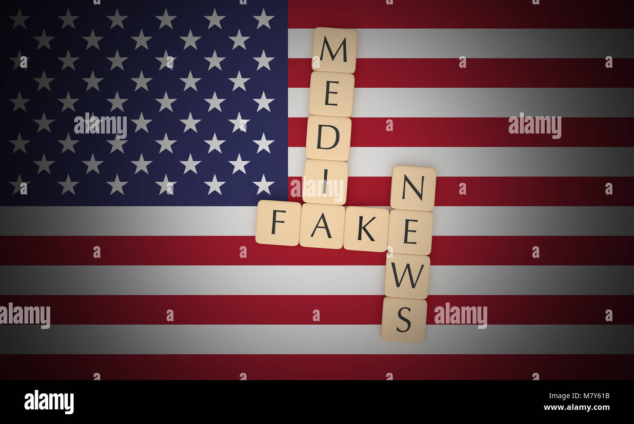 USA Politics News Concept: Letter Tiles Fake News Media On US Flag, 3d illustration Stock Photo