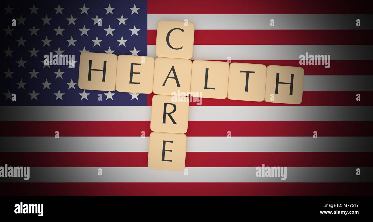 USA Politics News Concept: Letter Tiles Health Care On US Flag, 3d illustration Stock Photo
