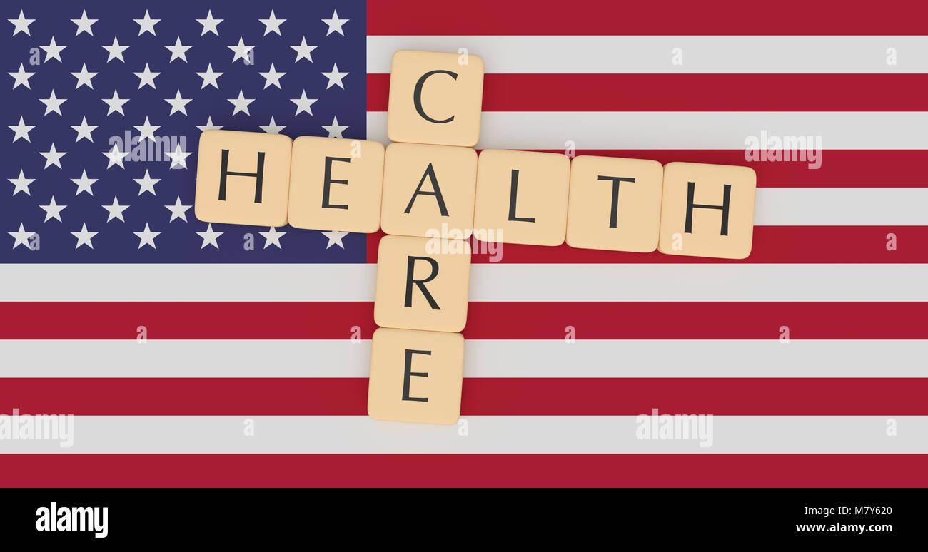 USA Politics News Concept: Letter Tiles Health Care On US Flag, 3d illustration Stock Photo