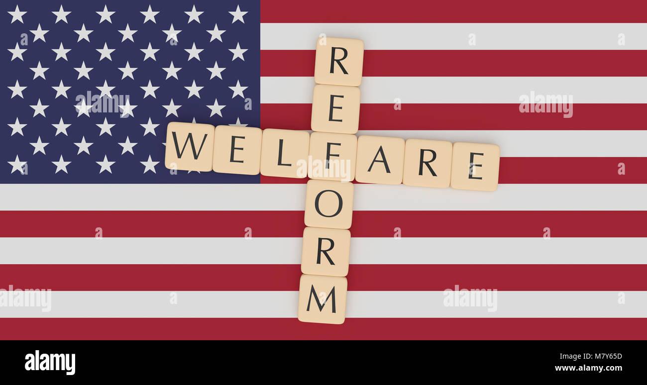 USA Politics News Concept: Letter Tiles Welfare Reform On US Flag, 3d illustration Stock Photo