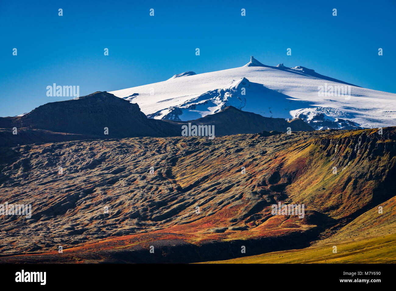 Snaefellsjokull Glacier, in the fall, Iceland - Stock Image