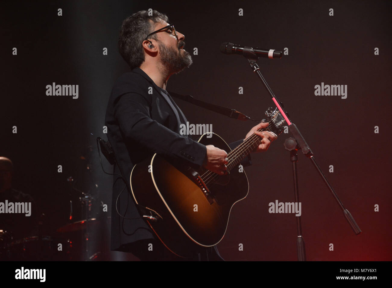 Naples, Italy. 26th Feb, 2018. The Italian singer and song-writer Dario Brunori also known as Brunori sas performs - Stock Image