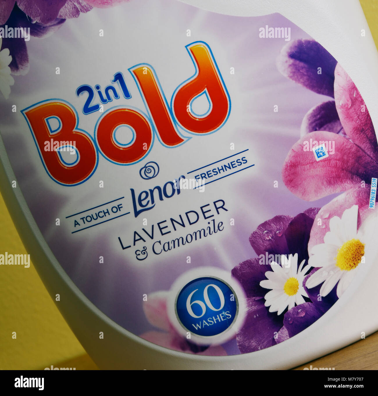 Detail of label on plastic container of Procter and Gamble 2 in 1 Bold biological laundry detergent. - Stock Image