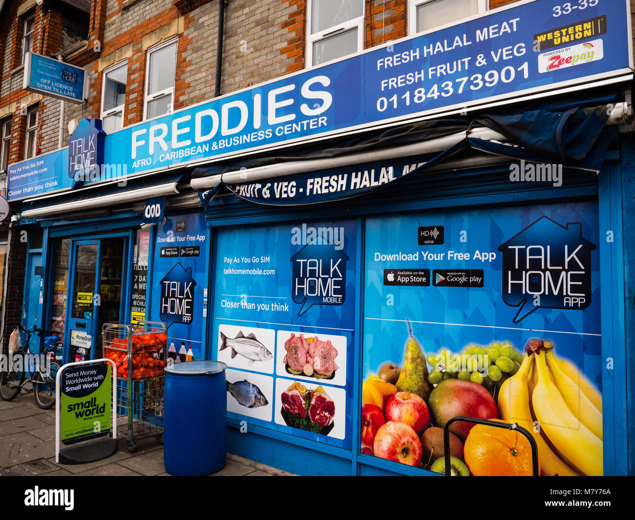 Freddies Afro Caribbean Store, Halal Off License, Whitley, Reading, England. - Stock Image