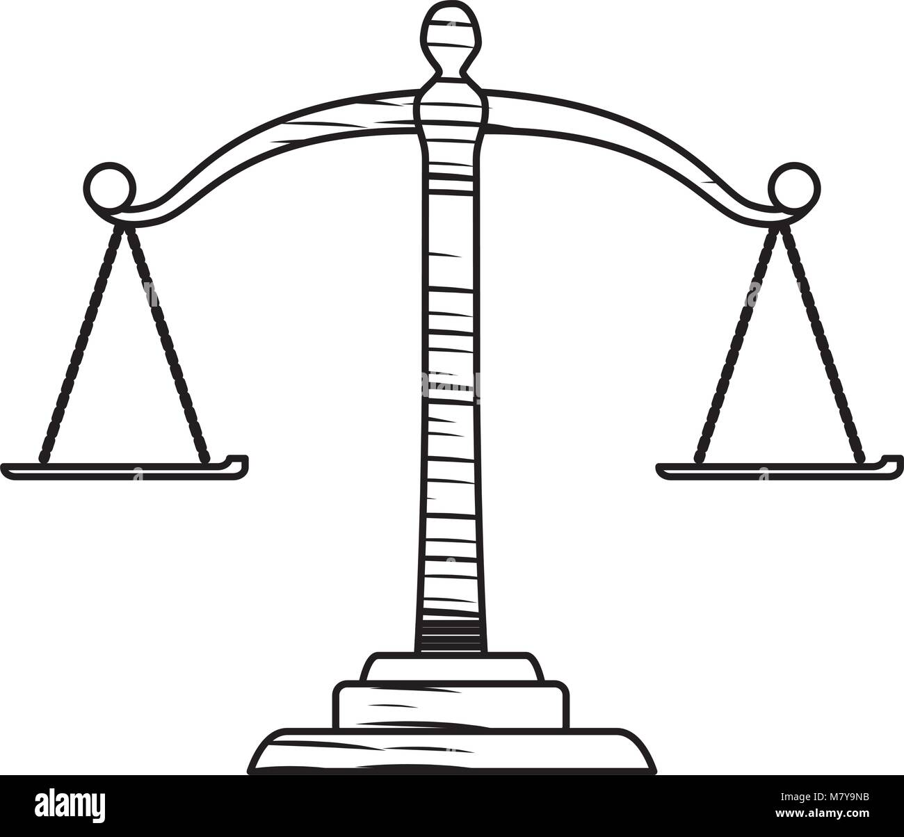 sketch of law scale icon over white background, vector illustration