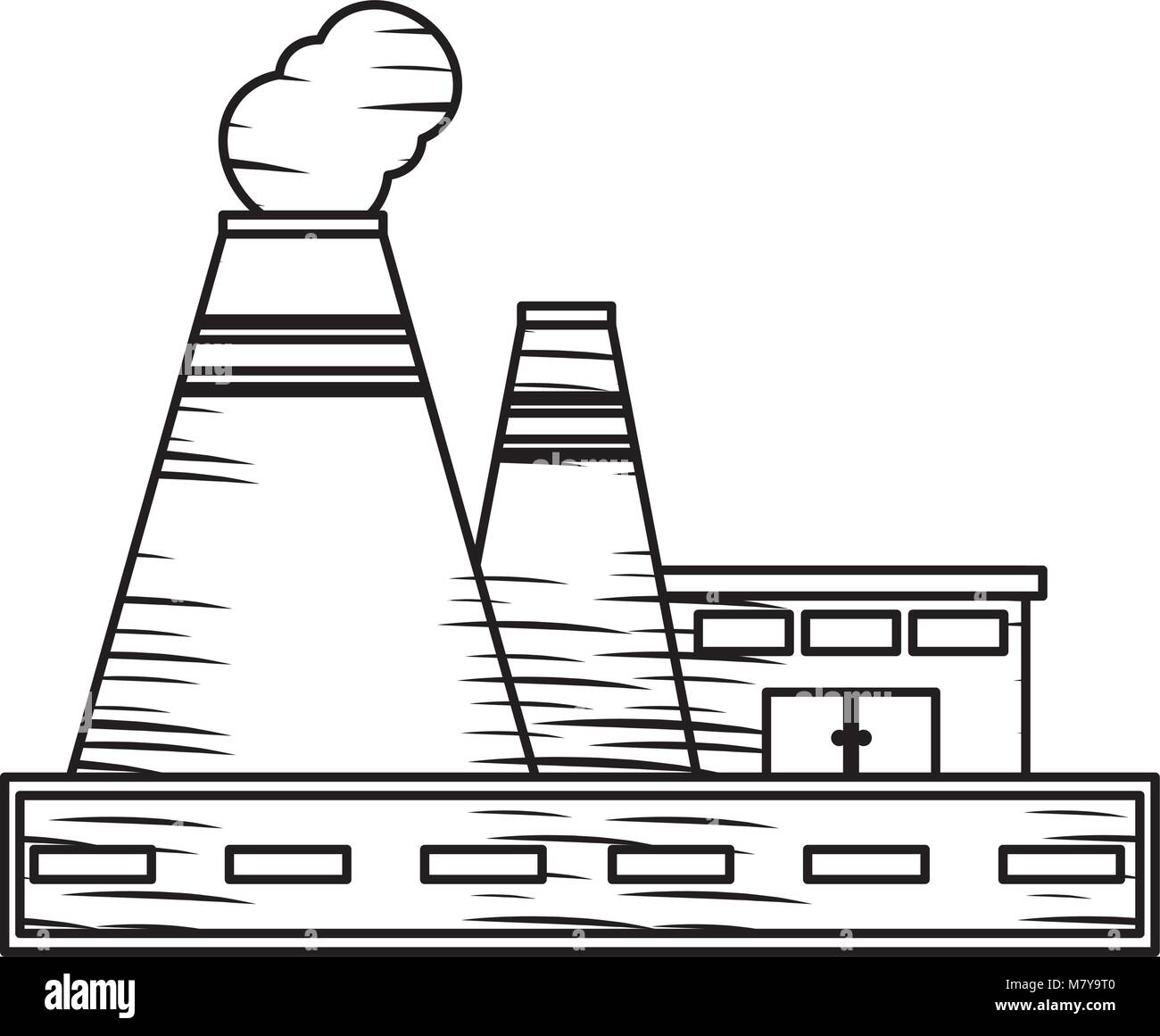 sketch of Industrial building icon over white background, vector illustration - Stock Image
