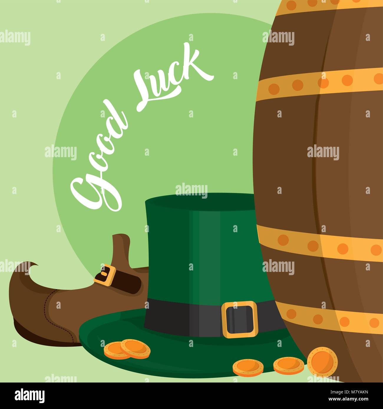 e46ae22afba Elf hat and shoes with coins St patricks day - Stock Vector