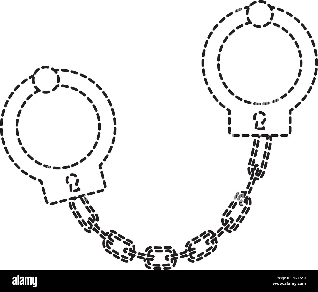 handcuffs icon over white background, vector illustration - Stock Image
