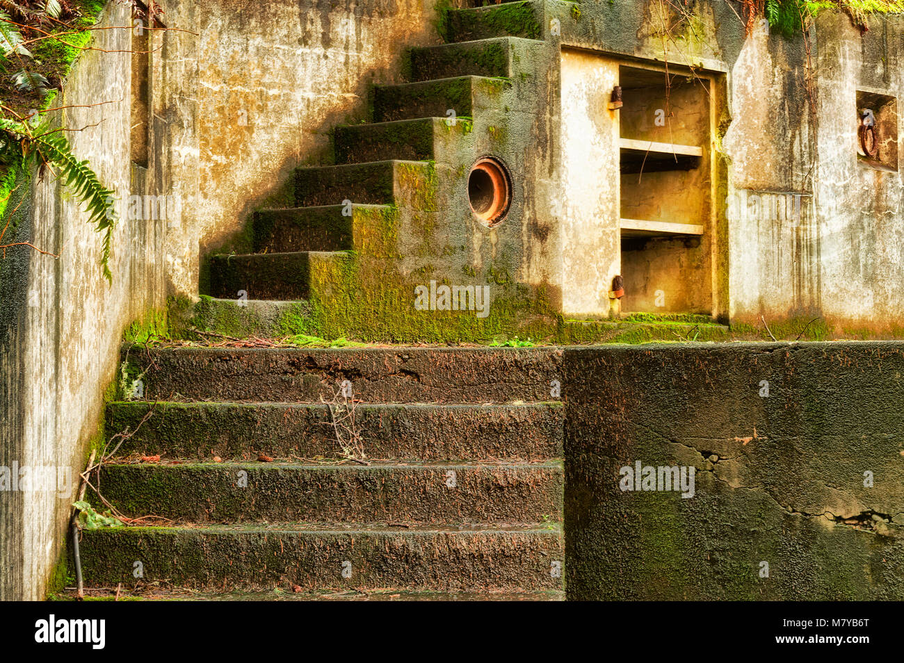 Two flights of outside stairs ascend this exterior weathered wall covered with moss and interesting background with Stock Photo