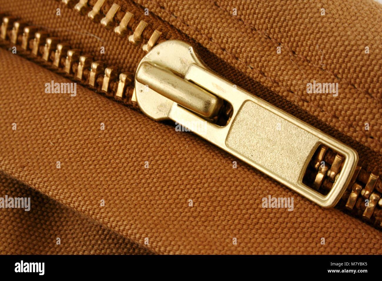 A Large gold zipper macro - Stock Image