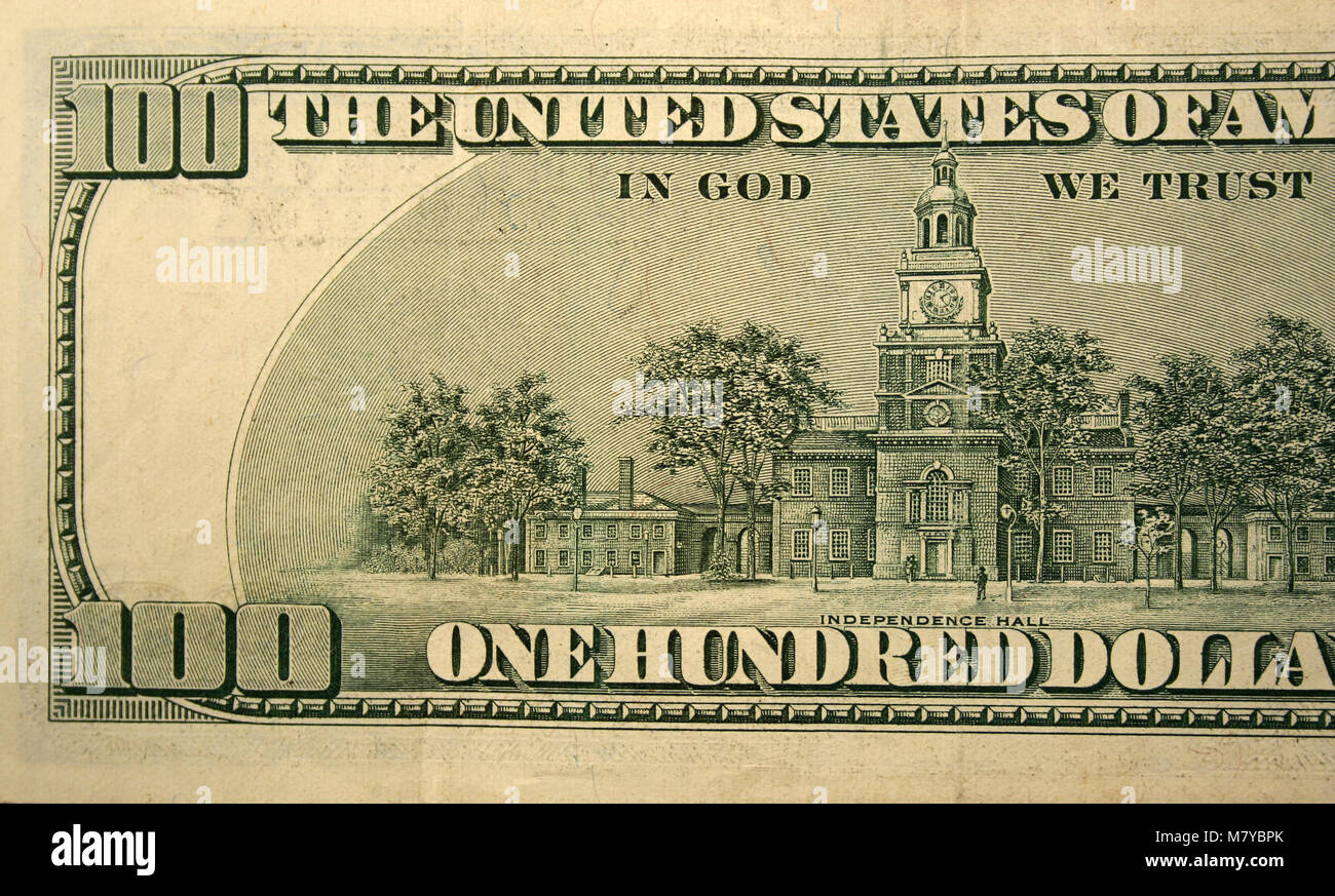 The Back half of a one hundred dollar bill - Stock Image