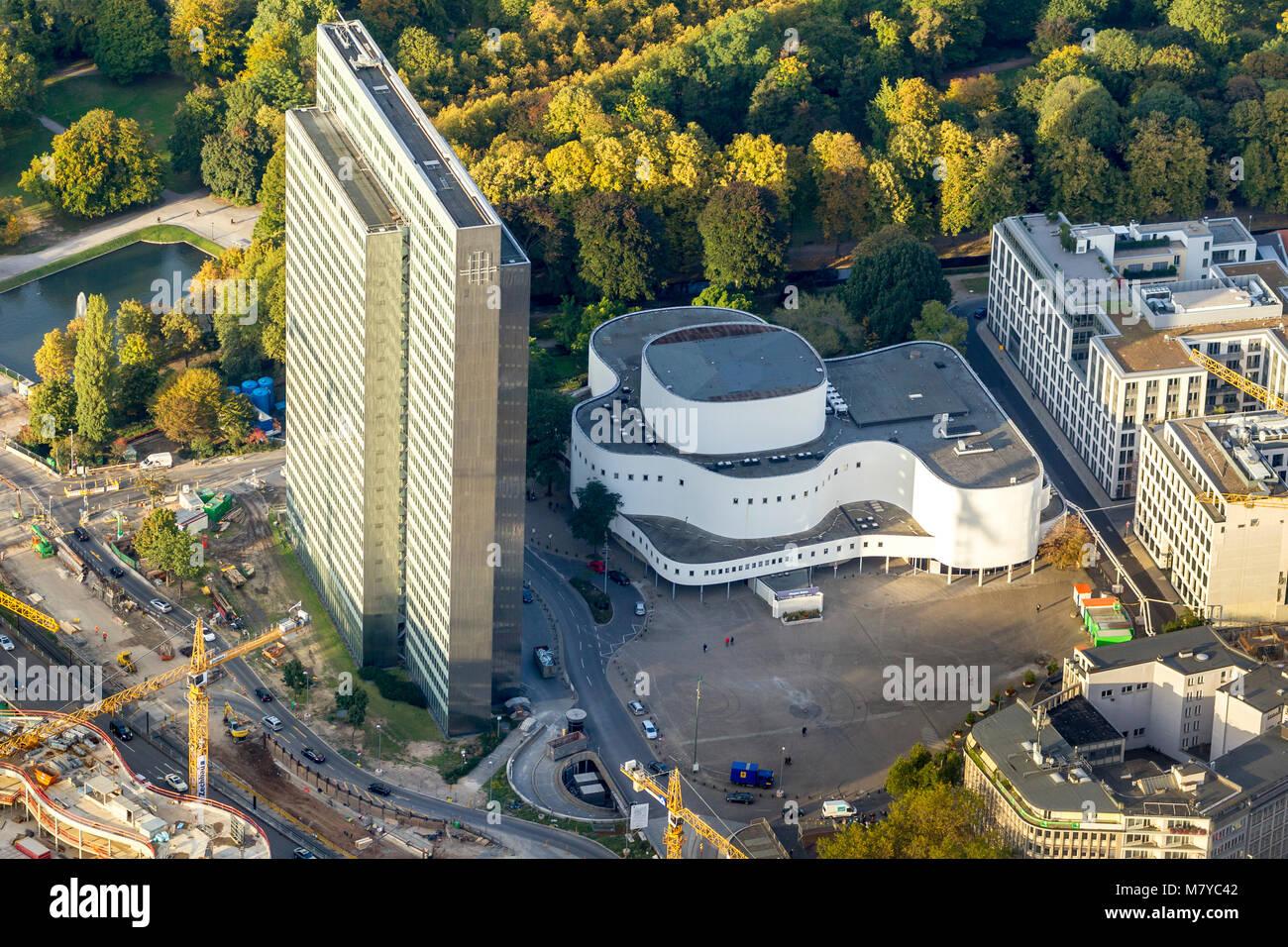 Aerial view, Dreischeibenhaus, Gustaf-Gründgens Square, Playhouse, Playhouse, Duesseldorf, Rhineland, North - Stock Image