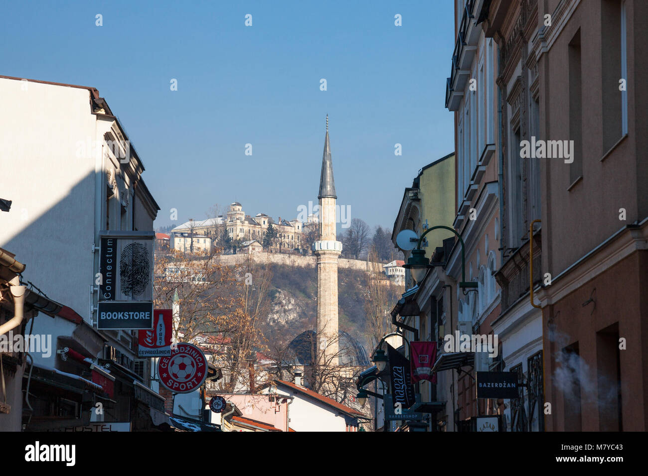 SARAJEVO, BOSNIA AND HERZEGOVINA - FEBRUARY 16, 2018: Mosque Minaret in the Bascarsija district in winter.  Bascarsija - Stock Image