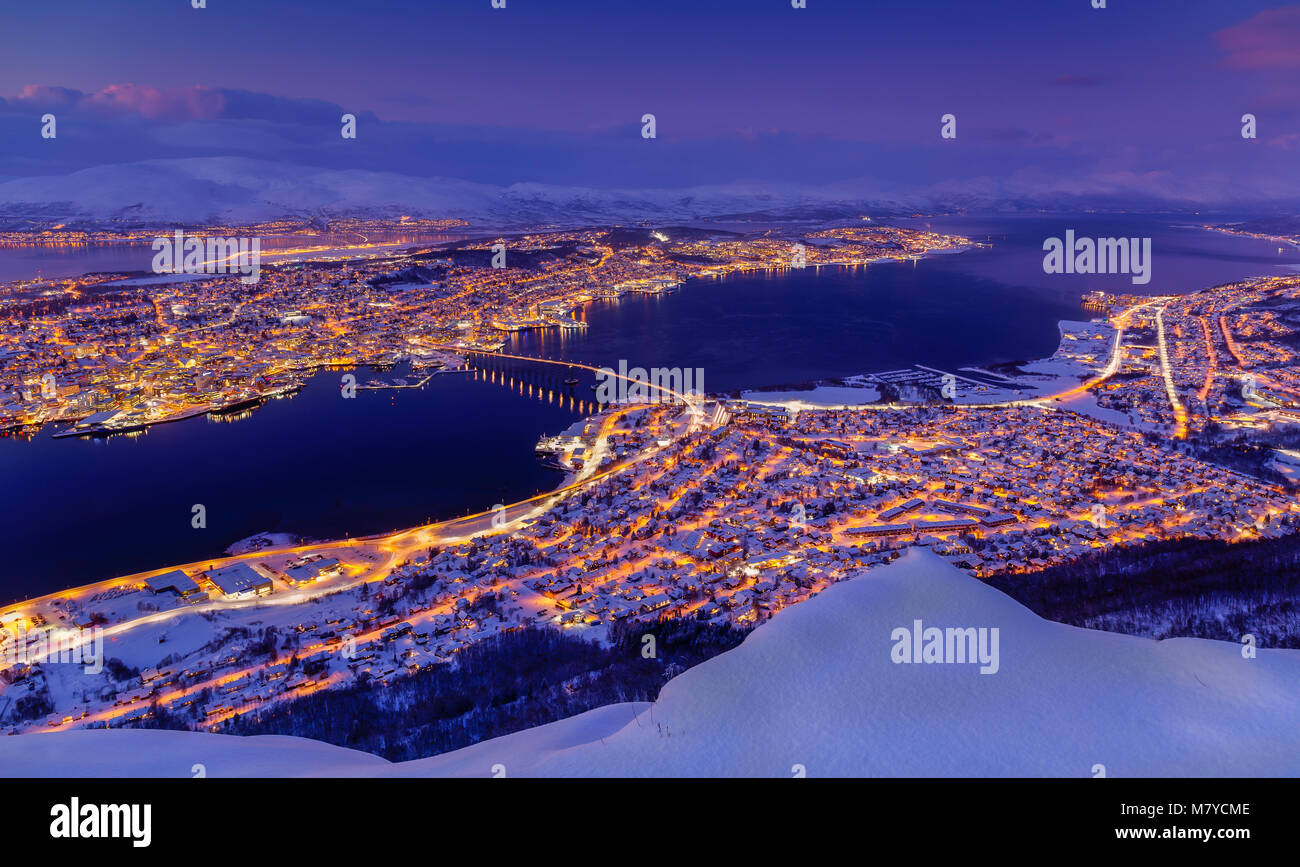 Aerial view over the city of Tromsø in Northern Norway in Winter. - Stock Image