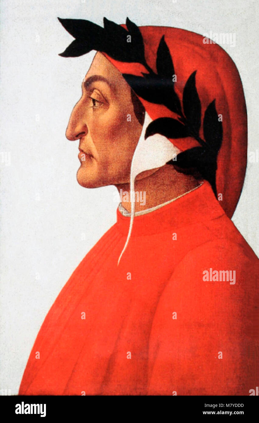 Dante. Portrait of Dante Alighieri (1265-1321) by Sandro Botticelli, c.1495 - Stock Image