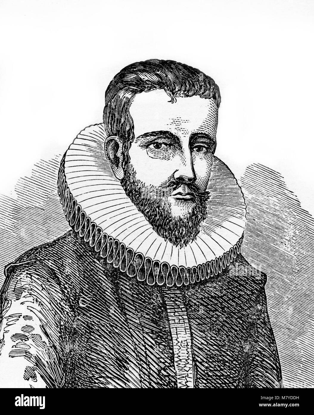 Henry Hudson (1565-1611), portrait of the English explorer, best known for his explorations of present-day Canada - Stock Image