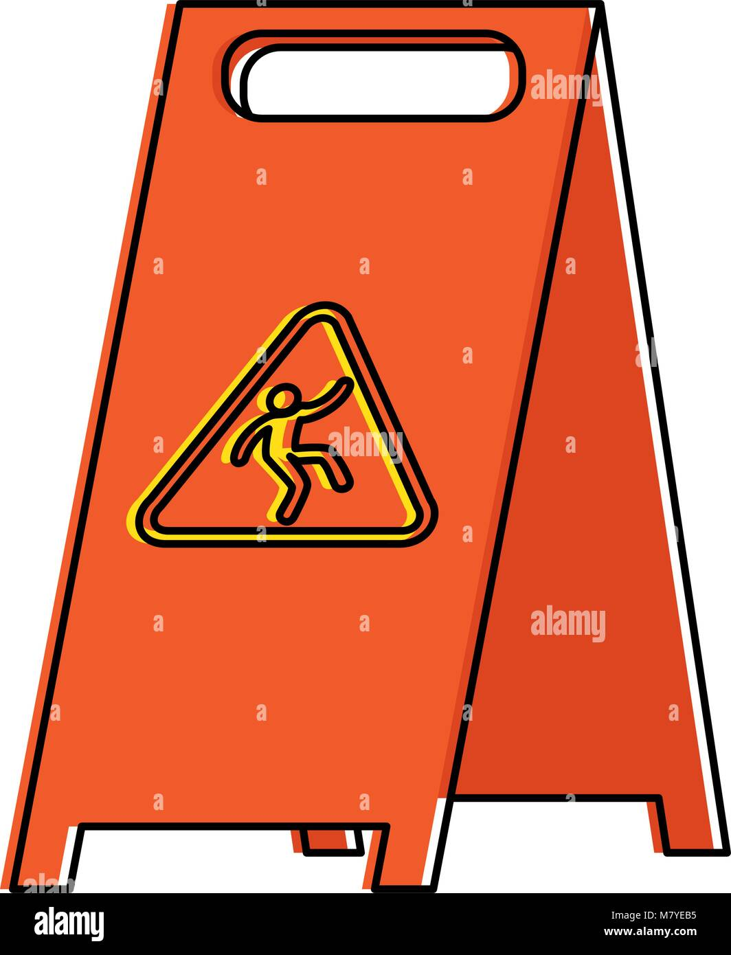 slippery floor sign icon vector illustration design - Stock Image