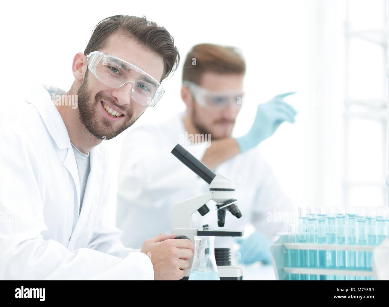 closeup.biologists on blurred background laboratory - Stock Image