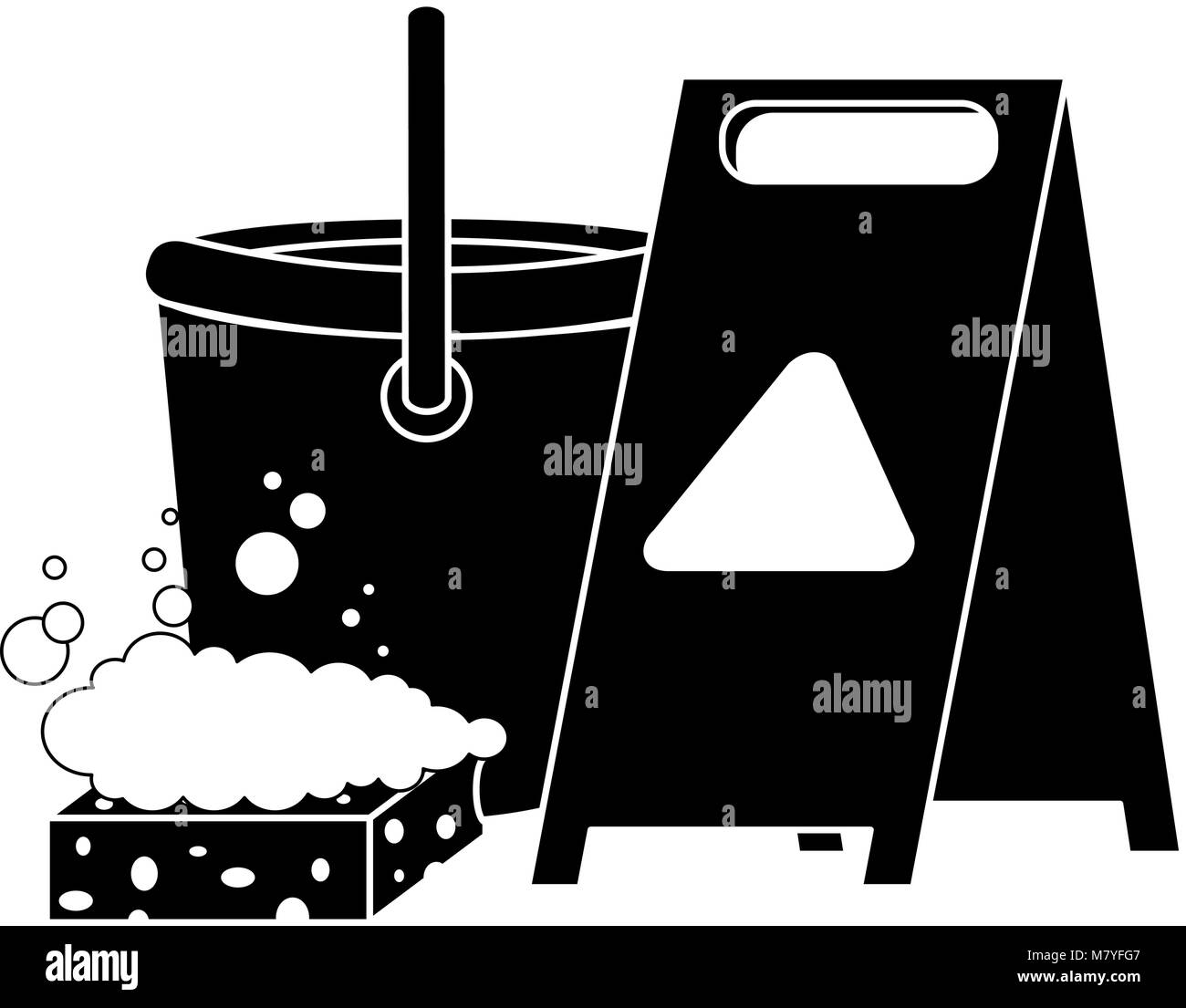 slippery floor sign with bucket and sponge vector illustration design - Stock Image