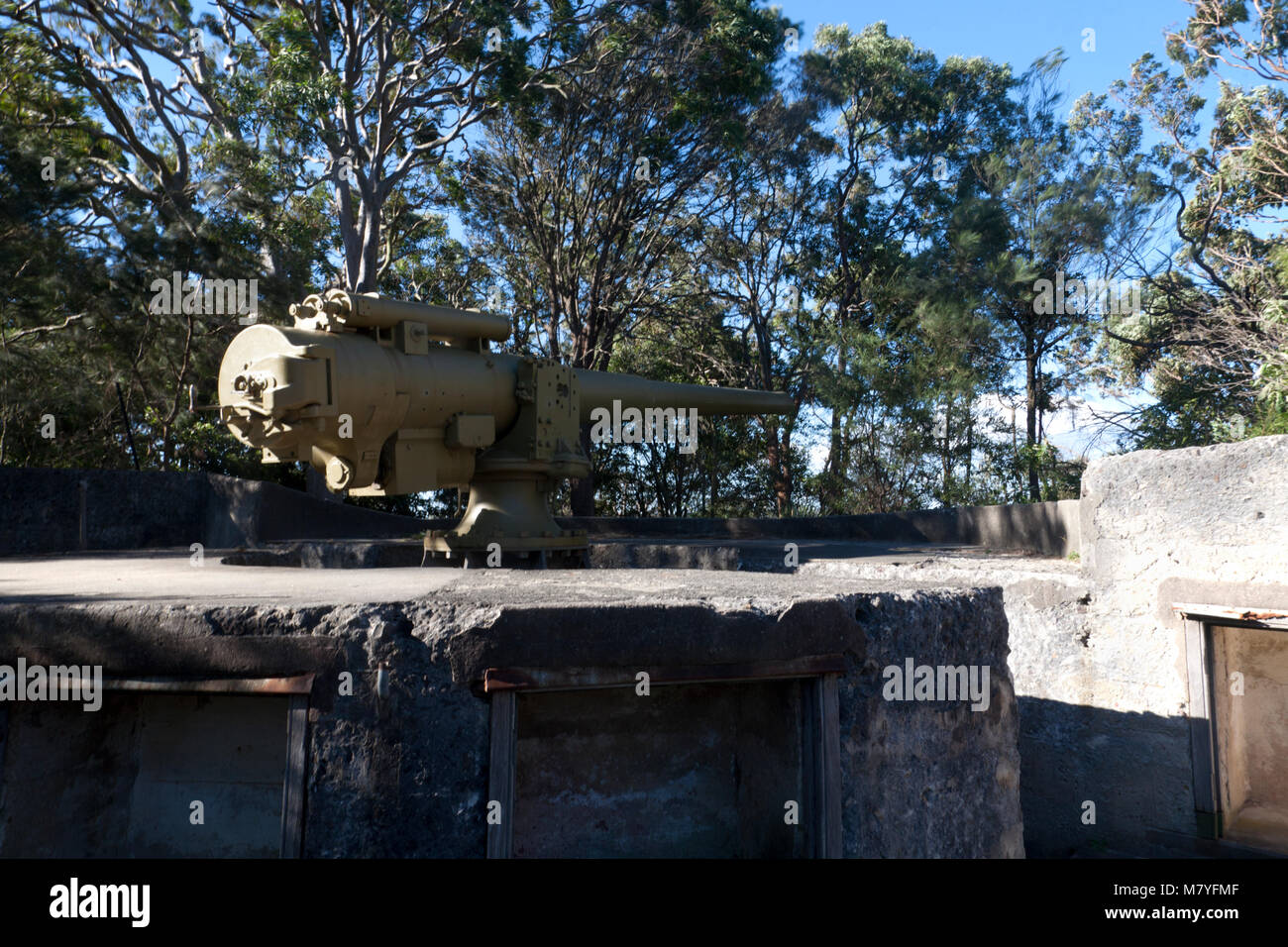 gun fortifications mosman middle head peninsular sydney harbour national park sydney new south wales audtralia - Stock Image