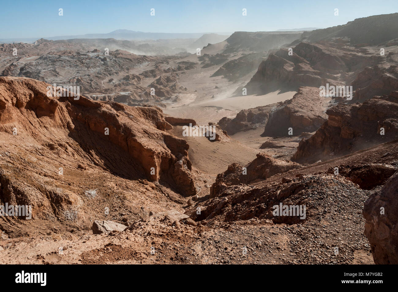 View of the Cordillera de la Sal, white Salt emerging from the Rocks, Saline Mountains in the Atacama Desert, Andes - Stock Image