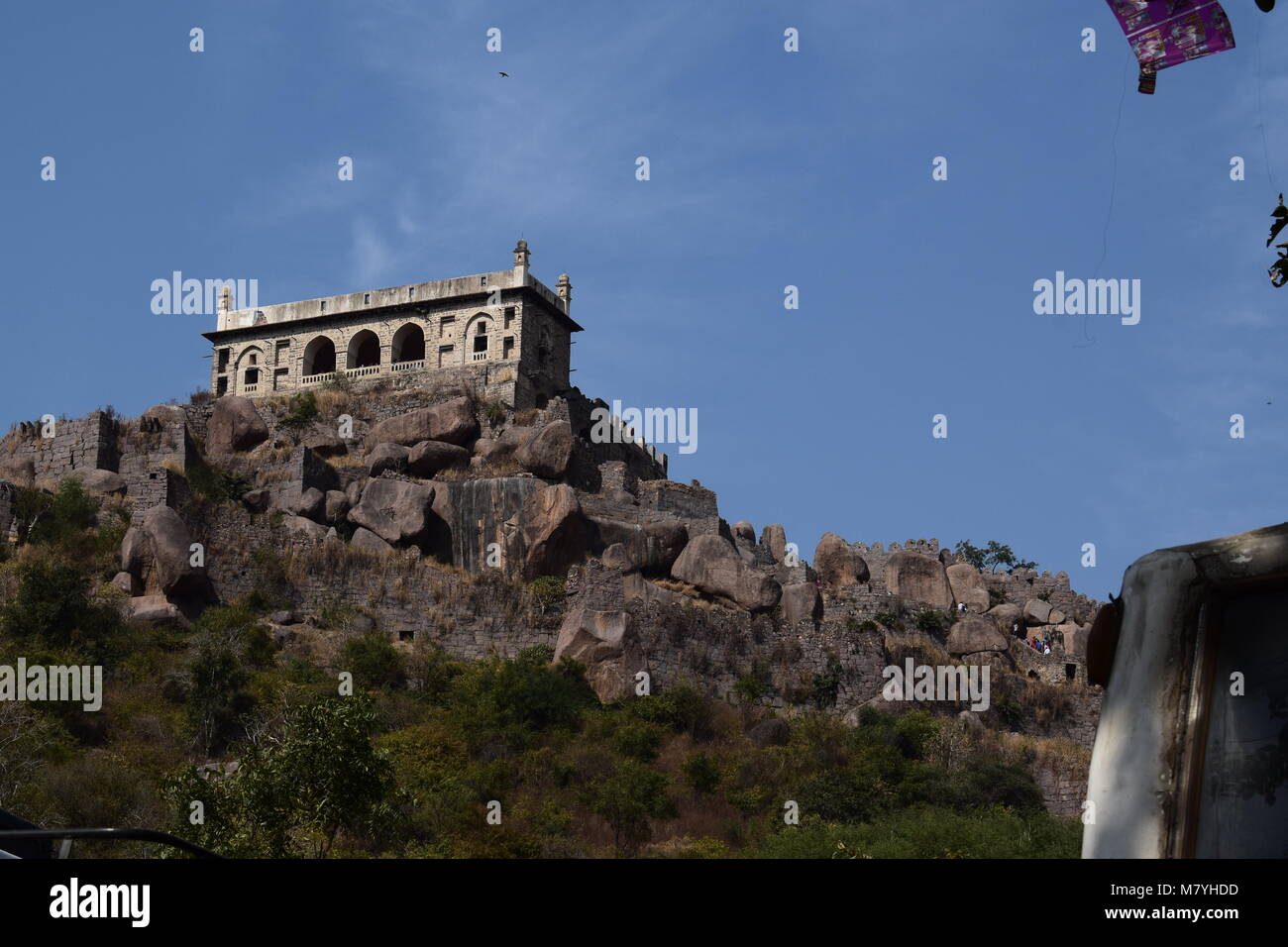 The topmost part of the golconda fort with the hill beneath it - Stock Image