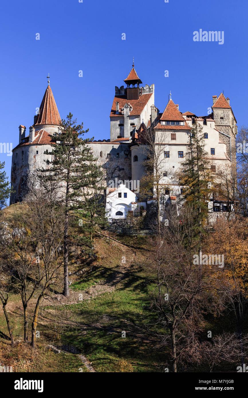 The medieval Castle of Bran known for the myth of Dracula. Brasov Transylvania. Romania - Stock Image