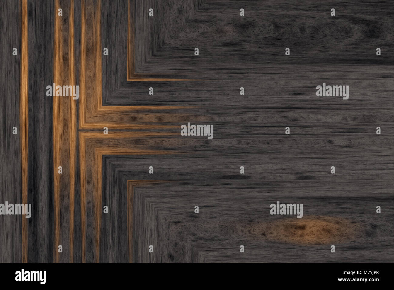 Dark wooden background with yellow painted detail. Abstract texture. 2d illustration - Stock Image