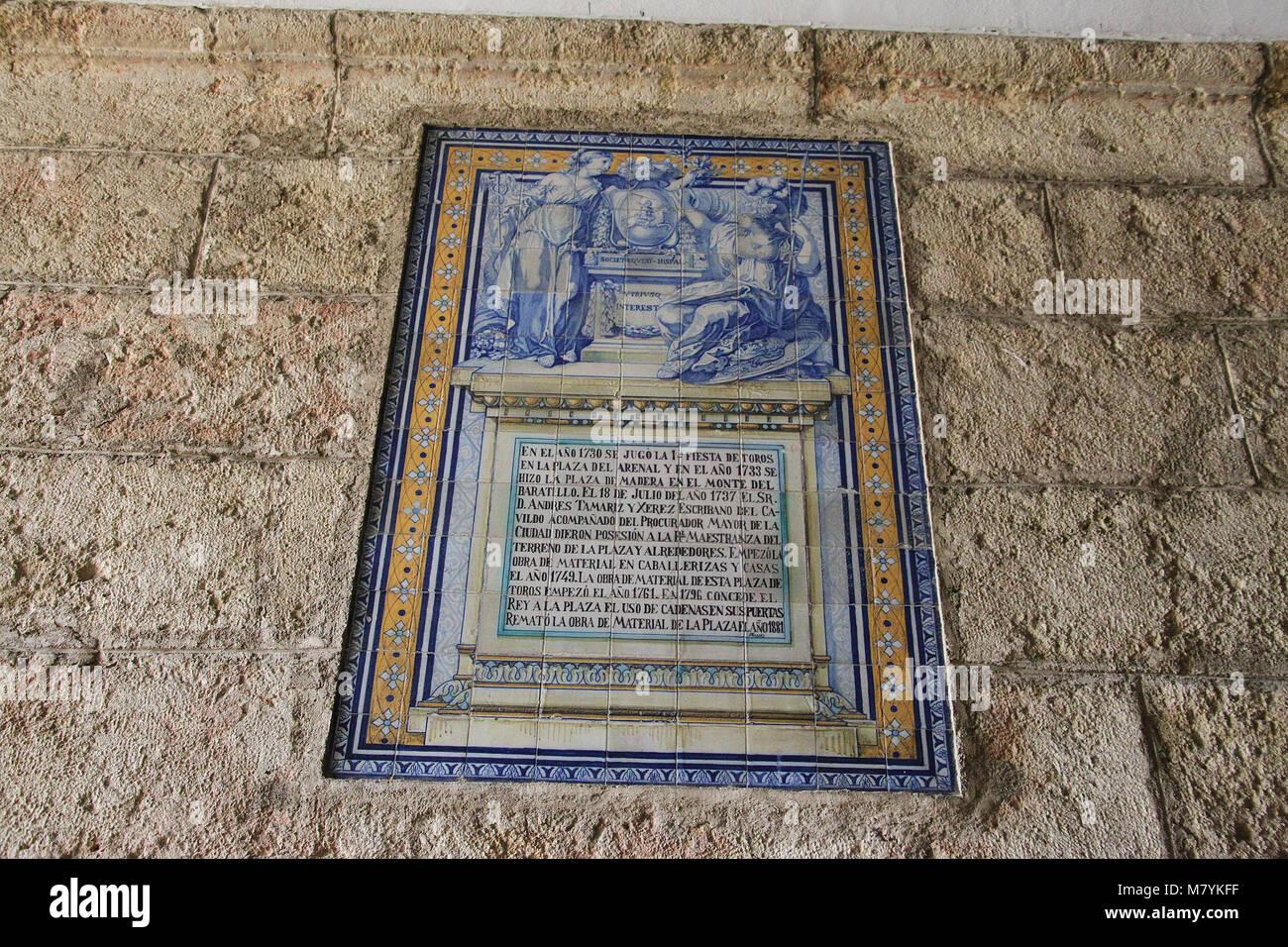 Tilework at Seville Bullring - Stock Image