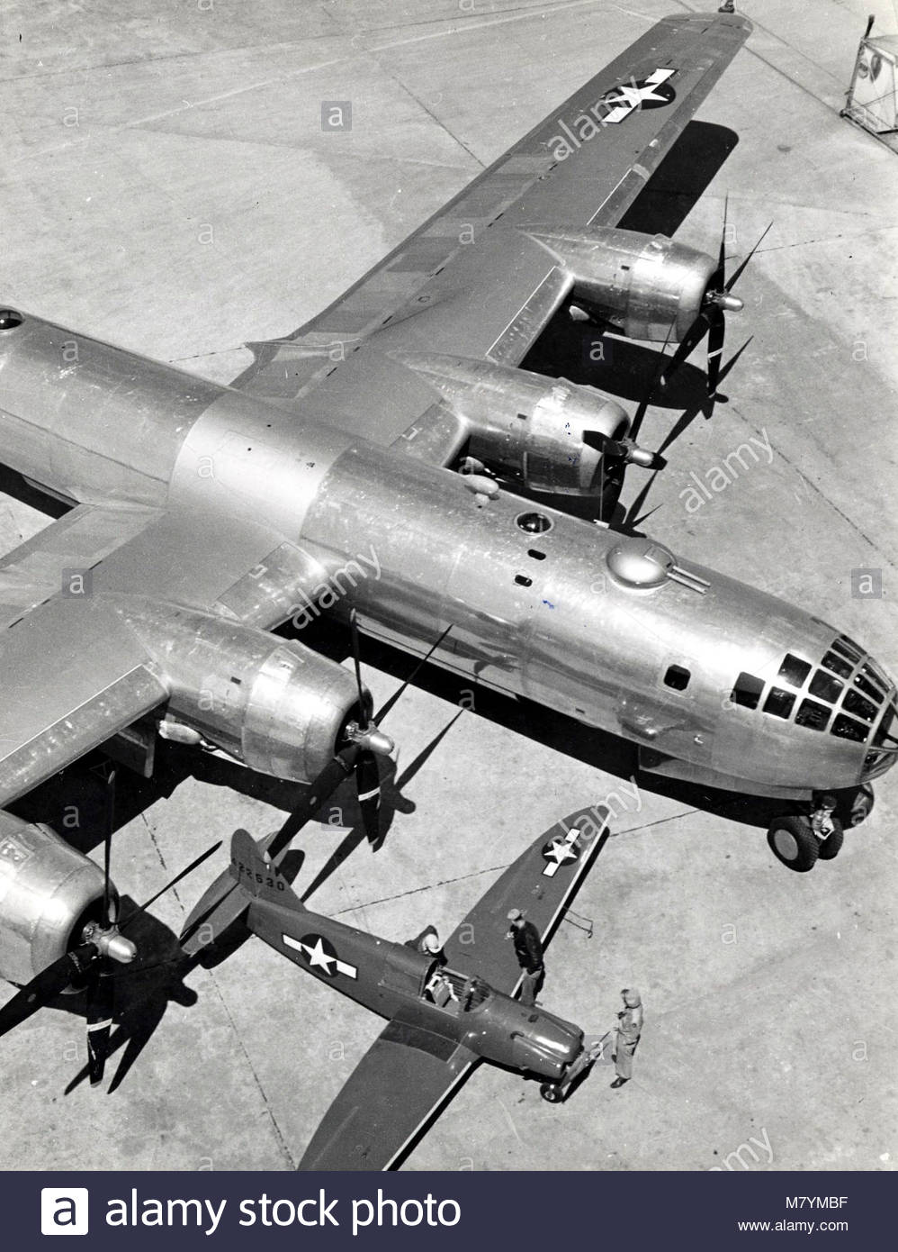 Boeing B-29 Superfortress and a Culver PQ-14A-CL (sn 44-22530). - Stock Image