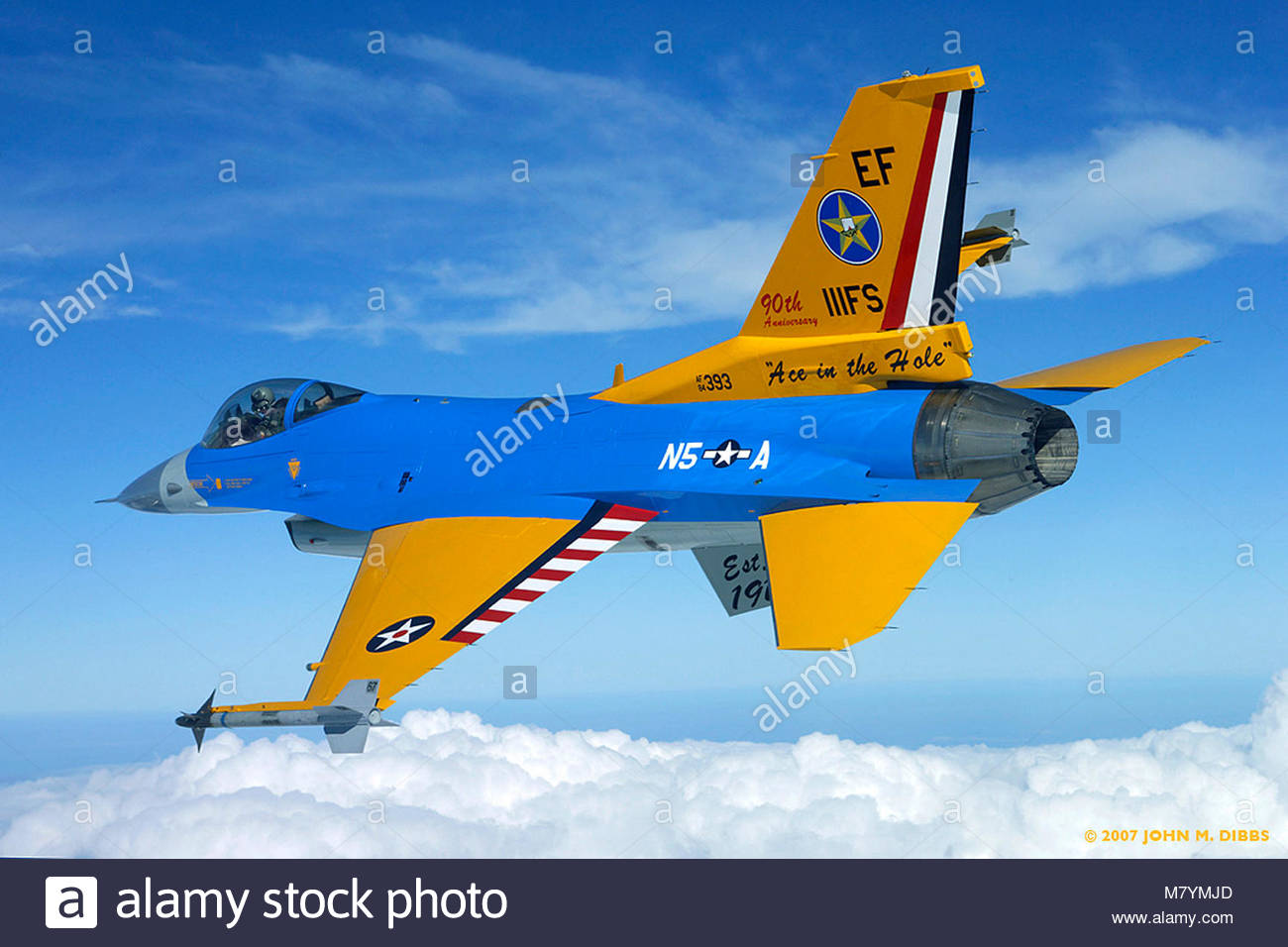 Colorful General Dynamics F-16C Fighting Falcon represents 90 years of. An F-16C from the Texas ANG's 111th - Stock Image