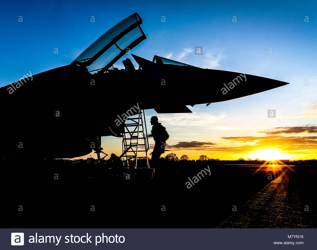 Golden Hour. Pictured is a XI Squadron FGR4 Typhoon during Exercise GRIFFIN STRIKE 2106.  The Typhoon FGR4 provides - Stock Image