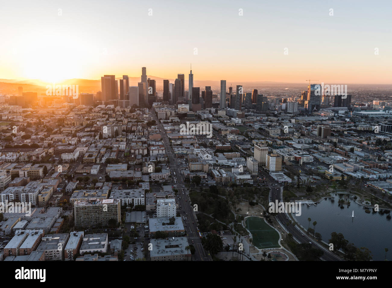 Los Angeles, California, USA - February 20, 2018:  Aerial morning view east on 6th street in the Westlake neighborhood - Stock Image