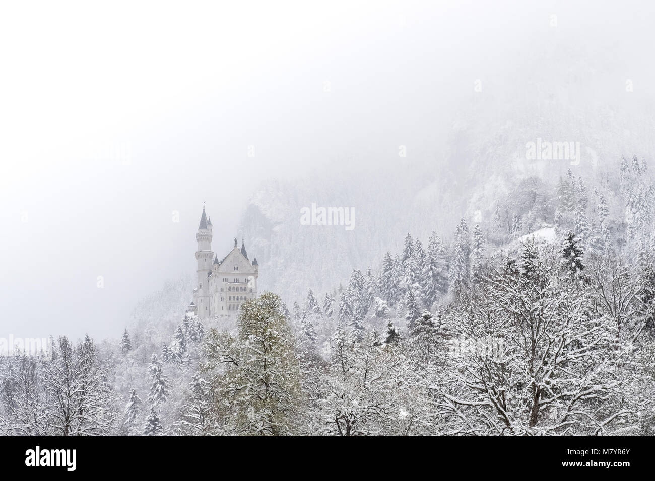 Neuschwanstein Castle in winter landscape. a nineteenth-century Romanesque Revival palace on a rugged hill above - Stock Image