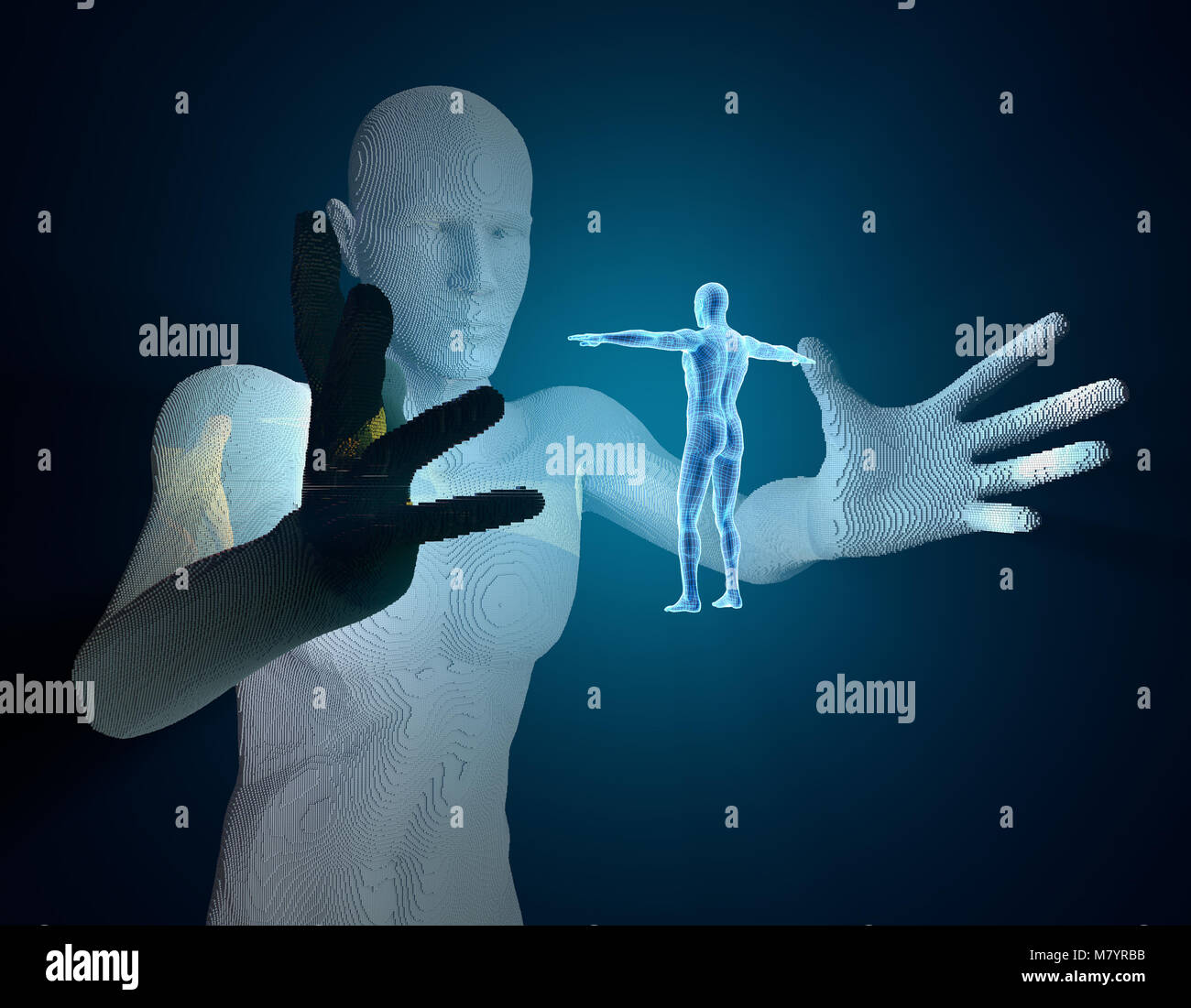 Future human science and technology, exploring the future, human models Stock Photo
