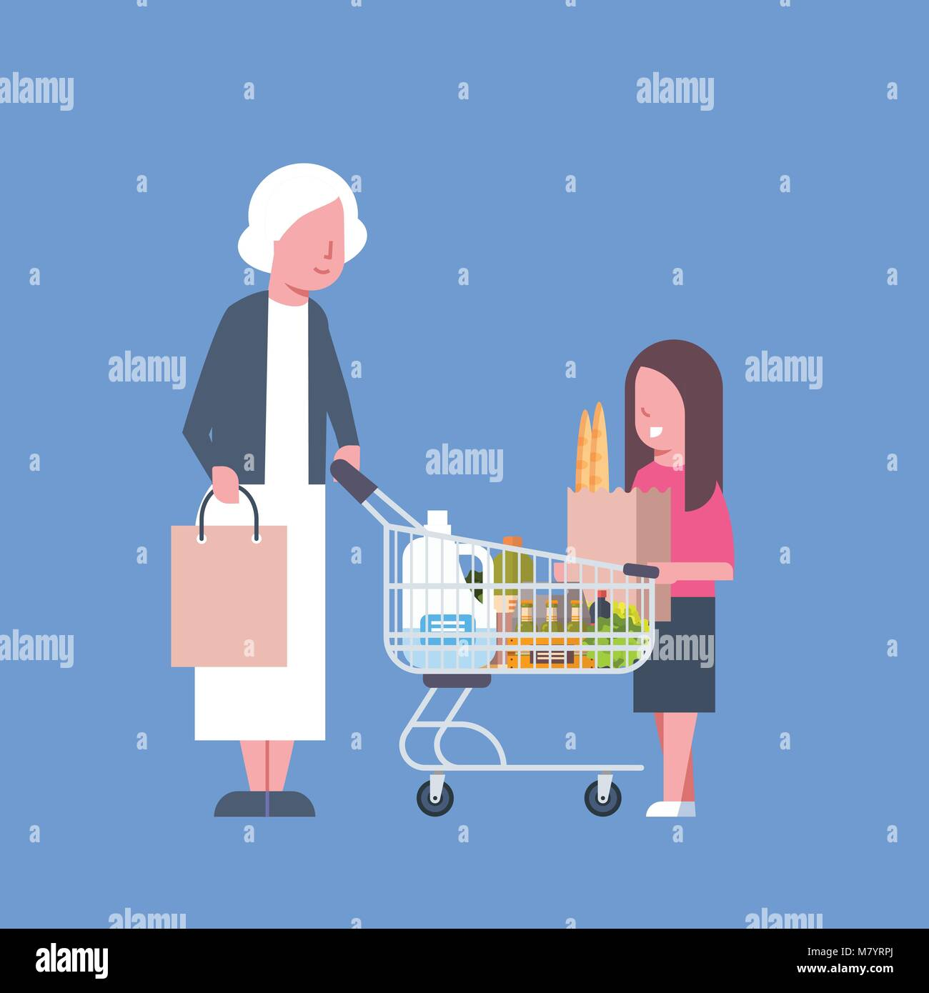 Girl With Grandmother Shopping Holding Paper Bag And Cart Full Of Grocery Products - Stock Vector