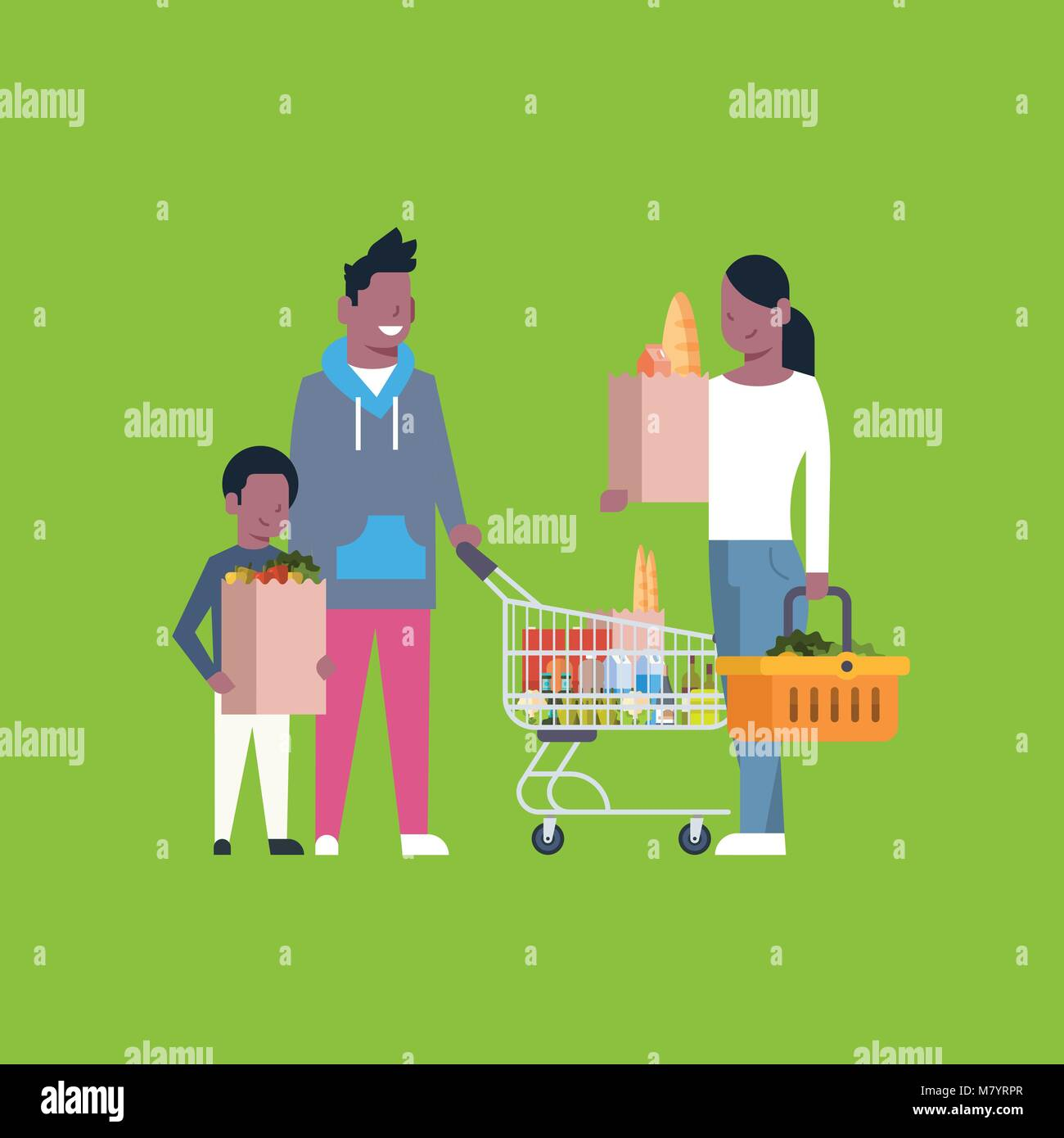 African American Family Shopping Holding Paper Bag, Trolley And Basket Full Of Grocery Products - Stock Vector