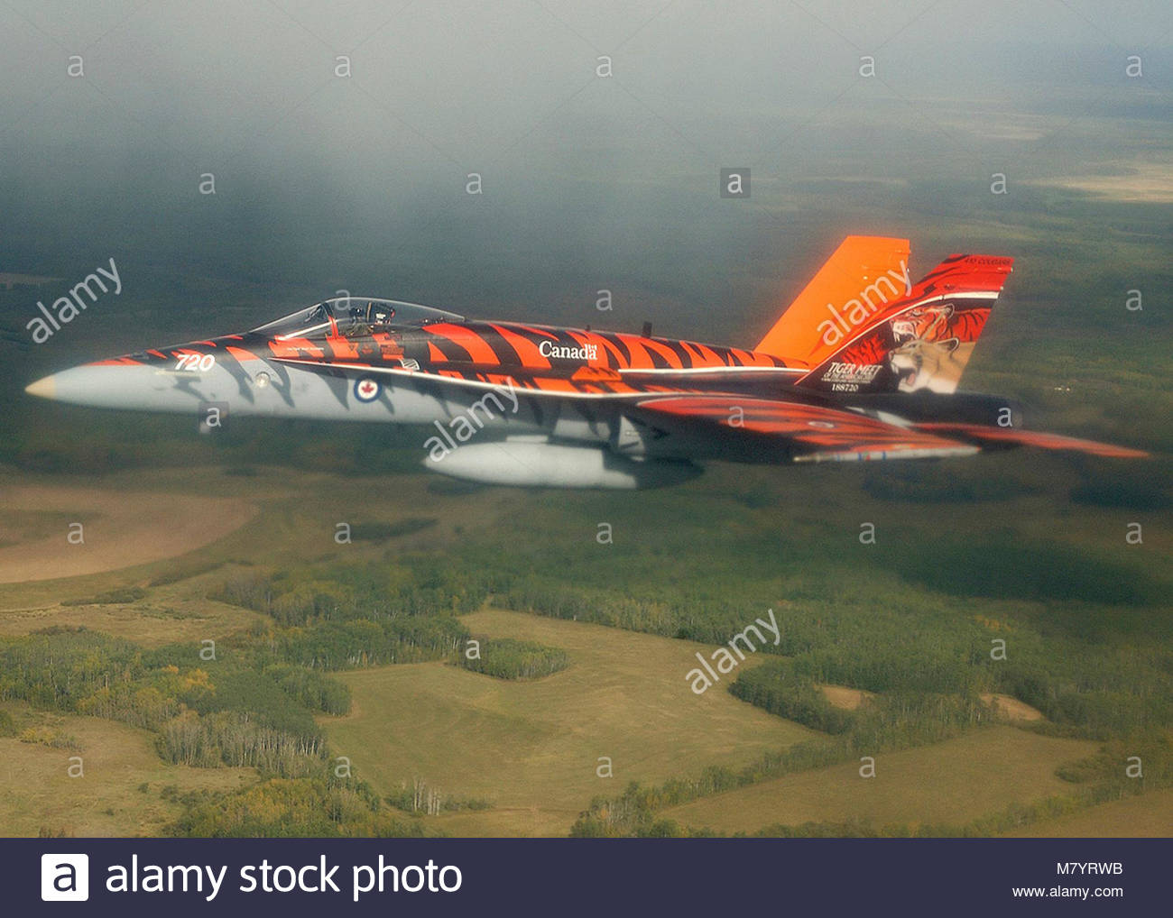 ". Demonstration Team Pilot Captain Travis ""Brass"" Brassington of 410 Squadron, 4 Wing Cold Lake, flies the Canadian - Stock Image"