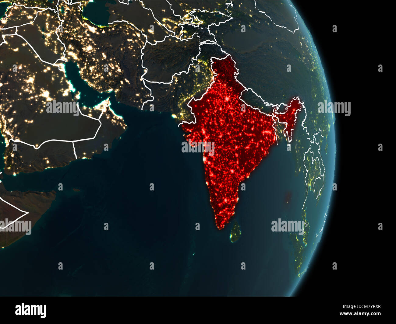 Map of india in red as seen from space on planet earth at night with map of india in red as seen from space on planet earth at night with white borderlines and city lights 3d illustration elements of this image furnis gumiabroncs