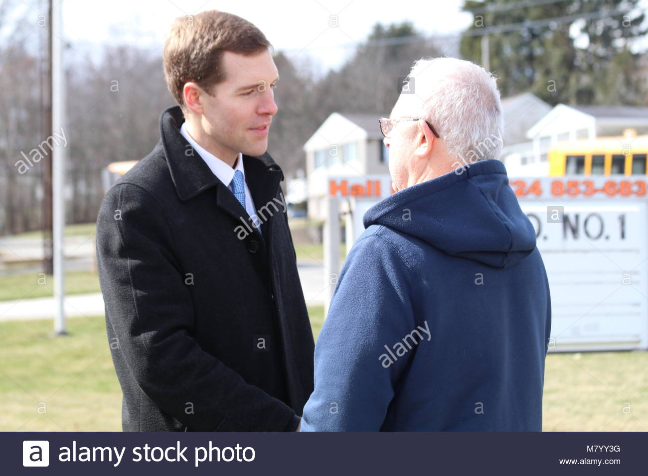 Greensburg, United States. 13th Mar, 2018. Conor Lamb (L), Democratic congressional candidate for Pennsylvania's - Stock Image
