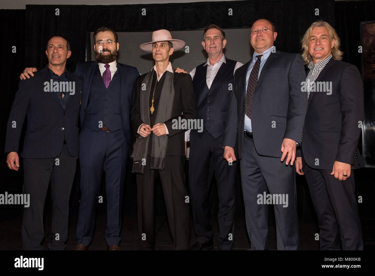 Las Vegas, NV, USA. 13th Mar, 2018. ***HOUSE COVERAGE*** Ken Raasch, Serik Kushenov, Perry Farrel, Ed Jones, Cary - Stock Image