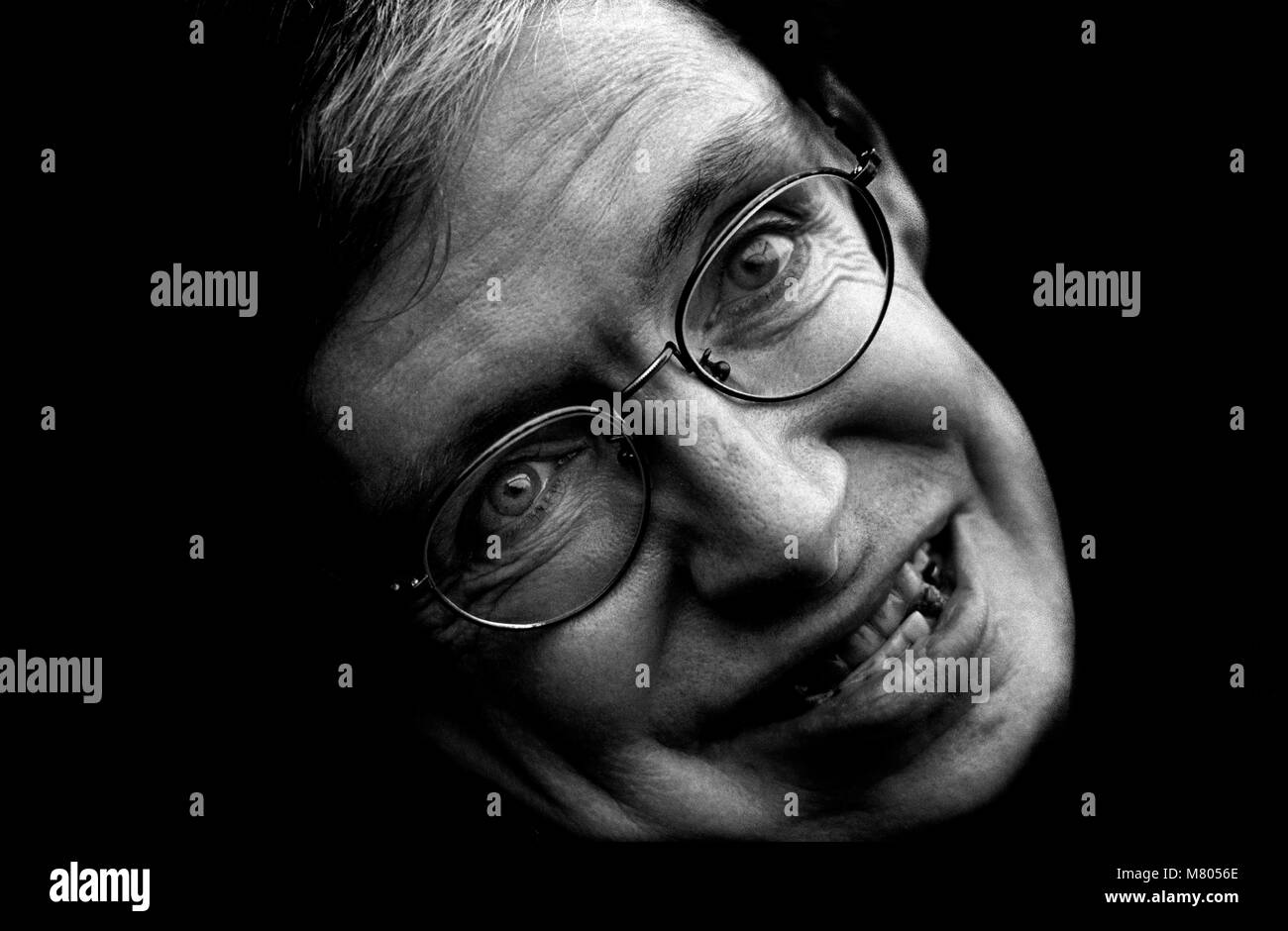 Prof. Stephen Hawking BY BRIAN HARRIS © 11 January 2002 whose death was announced today today 14 March 2018 - Stock Image