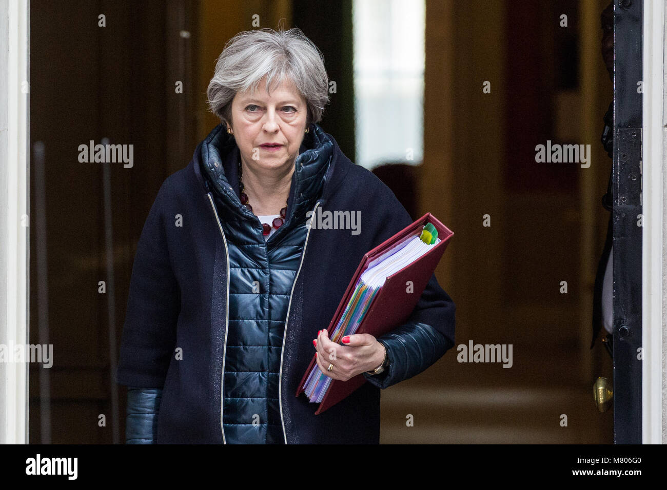London, UK. 14th March, 2018. Prime Minister Theresa May leaves 10 Downing Street to attend Prime Minister's - Stock Image