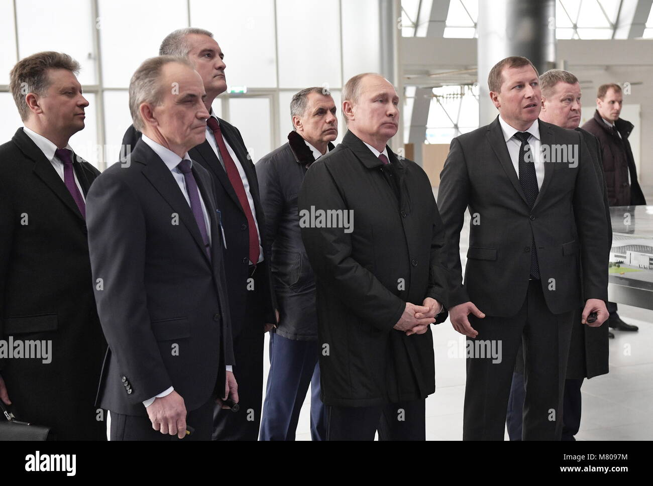 SIMFEROPOL, CRIMEA, RUSSIA - MARCH 14, 2018: Russia's Transport Minister Maxim Sokolov, Akons Pro general director - Stock Image